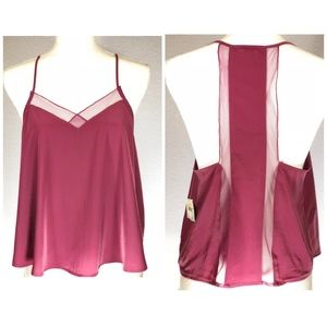 FREE PEOPLE 'Heartbeat' Berry Mesh Panel Camisole